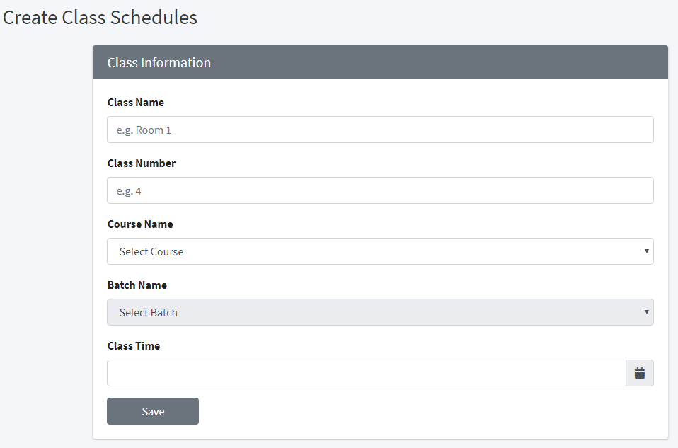 ADD NEW CLASS SCHEDULE